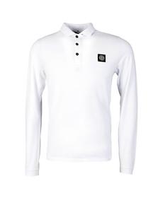 Stone Island Mens White Long Sleeve Inlay Collar Polo Shirt