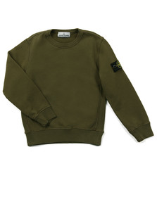 Stone Island Junior  Boys Green Sleeve Badge Crew Neck Sweatshirt