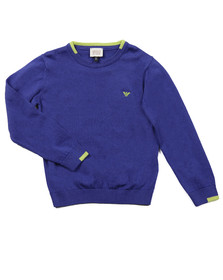 Armani Junior  Boys Blue Small Logo Knitted Crew Jumper