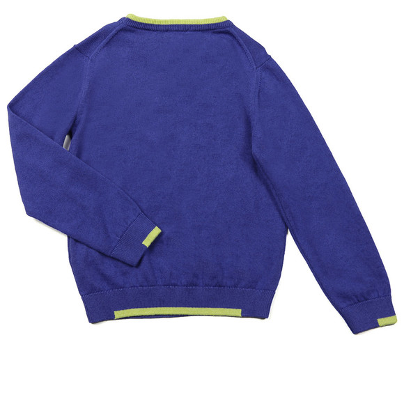 Armani Junior  Boys Blue Small Logo Knitted Crew Jumper main image