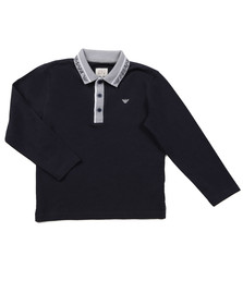 Armani Junior  Boys Blue Logo Collar Polo Shirt