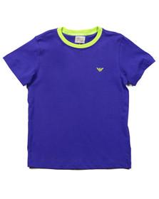Armani Junior  Boys Blue Plain Crew Neck T Shirt