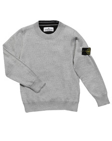 Stone Island Junior  Boys Grey Knitted Crew Neck Jumper