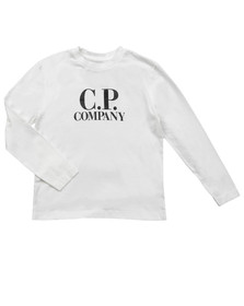 CP Company Undersixteen Boys Off-white Printed Goggle Long Sleeve T Shirt