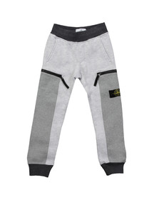 Stone Island Junior  Boys Grey Button Badge Panel Sweatpant