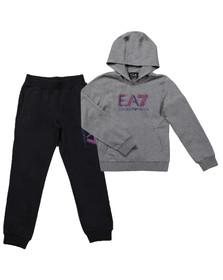 EA7 Emporio Armani Boys Grey Boys Large Logo Hooded Tracksuit