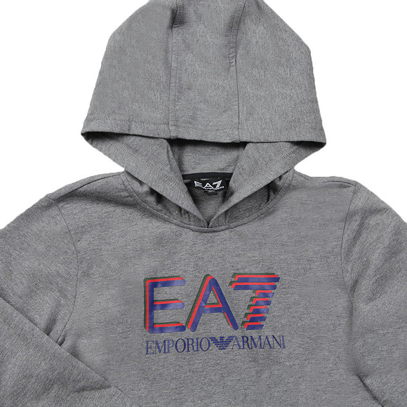 EA7 Emporio Armani Boys Grey Boys Large Logo Hooded Tracksuit main image