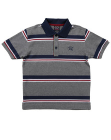 Paul & Shark Boys Grey Boys Stripe Pique Polo Shirt