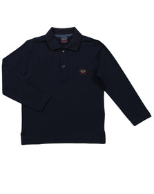 Paul & Shark Boys Blue Boys Plain Long Sleeve Polo Shirt