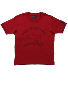 Paul & Shark Boys Red Boys Large Logo Crew T Shirt