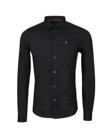 Luke Mens Black Butchers Pencil Shirt
