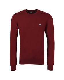 Armani Jeans Mens Red Logo Crew Jumper
