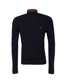 Armani Jeans Mens Blue Half Zip Tipped Jumper