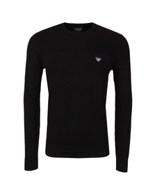 Armani Jeans Mens Black Ribbed Knitted Crew Jumper