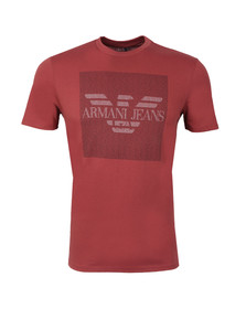 Armani Jeans Mens Red Logo Crew Neck T Shirt