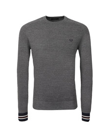 Fred Perry Mens Grey Yarn Pique Crew Neck Jumper
