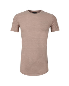 Project X Paris Mens Beige Pleated Sleeve T Shirt