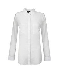 French Connection Womens White Polly Plains Long Sleeve Pocket Shirt