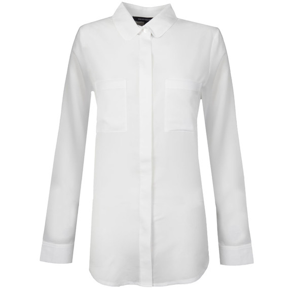 French Connection Womens White Polly Plains Long Sleeve Pocket Shirt main image