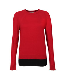 Michael Kors Womens Red Raglan Double Hem Jumper