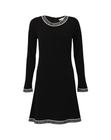 Michael Kors Womens Black Michael Kors Long Sleeve Crew Neck Border Dress