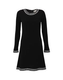Michael Kors Womens Black Michael Kors Long Sleeve Crew Neck Border Dress