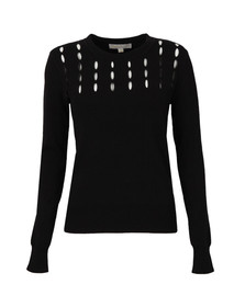 Michael Kors Womens Black Slash Yoke Crew Jumper