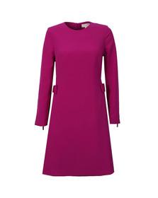 Ted Baker Womens Purple Emorly Side Bow Long Sleeve Dress