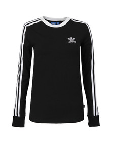 Adidas Originals Womens Black 3 Stripes Long Sleeve T Shirt