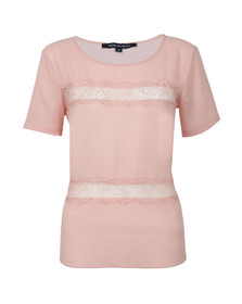 French Connection Womens Pink Polly Plains Short Sleeve Roundneck Top