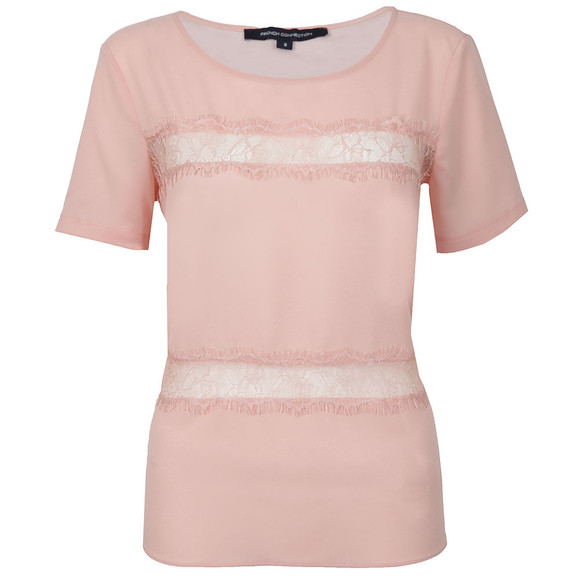 French Connection Womens Pink Polly Plains Short Sleeve Roundneck Top main image