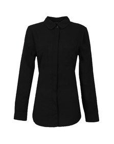 French Connection Womens Black Polly Plains Long Sleeve Pocket Shirt