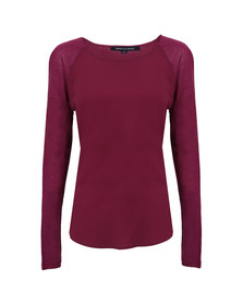 French Connection Womens Pink Polly Plains Long Sleeve Raglan Top