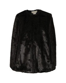 Michael Kors Womens Black Reversible Faux Fur Cape
