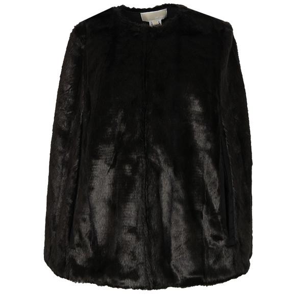 Michael Kors Womens Black Reversible Faux Fur Cape main image