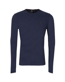 Luke Mens Marl Lux Navy Middle Wickets LS Crew Tee