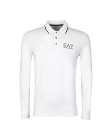 EA7 Emporio Armani Mens White Tipped Long Sleeve Polo Shirt