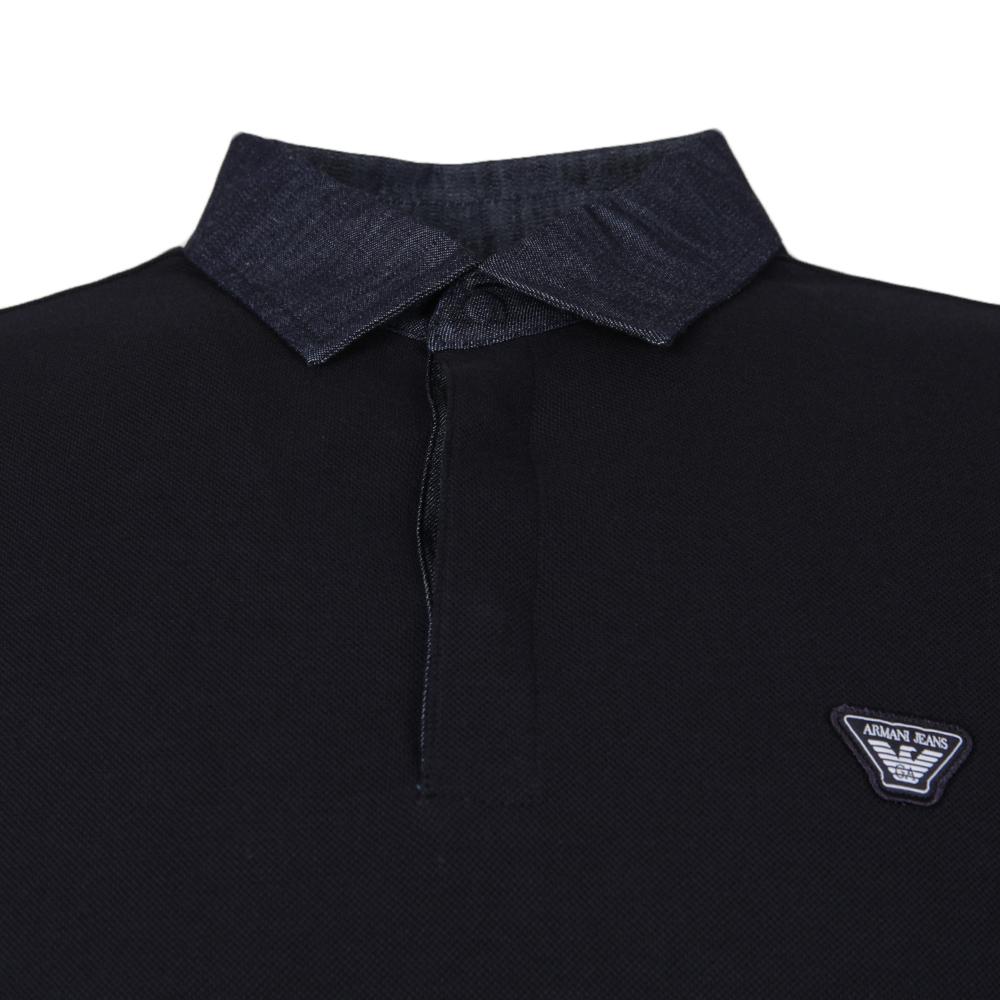 e3c92eff04 ... Armani Jeans Mens Blue Denim Collar Long Sleeve Polo Shirt main image  ...