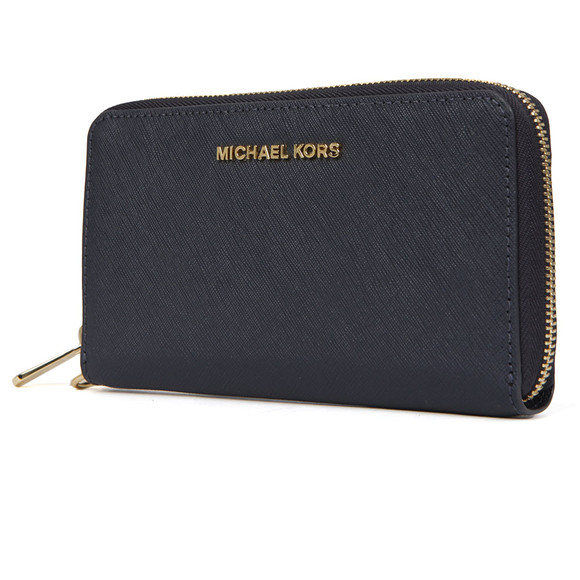 Michael Kors Womens Blue Jet Set Travel Large Coin Multi Function Phone Case main image
