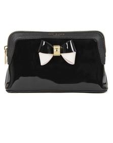 Ted Baker Womens Black Rosamm Colourblock Bow Make Up Bag