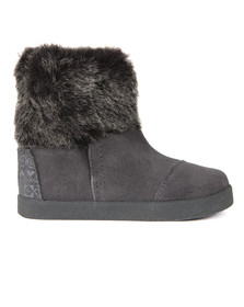 Toms Girls Grey Suede Faux Fur Nepal Boot
