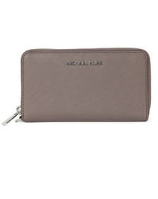 Michael Kors Womens Grey Jet Set Travel Large Coin Multi Function Phone Case