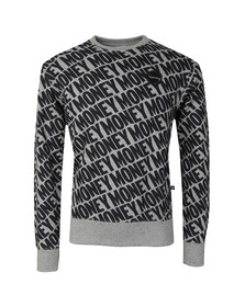 Money Mens Grey All Over Repeat Crew Sweat