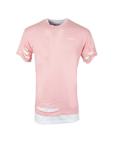 Illusive Mens Pink Double Layer Ripped T Shirt