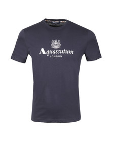 Aquascutum Mens Blue Griffin Crew Neck Logo Tee