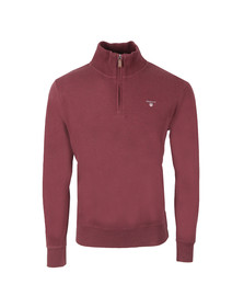 Gant Mens Red Sacker Rib Half Zip Collar