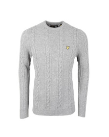 Lyle and Scott Mens Grey Crew Neck Cable Jumper