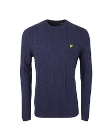 Lyle and Scott Mens Blue Crew Neck Cable Jumper