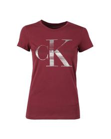 Calvin Klein Womens Red Shimmer Logo T Shirt