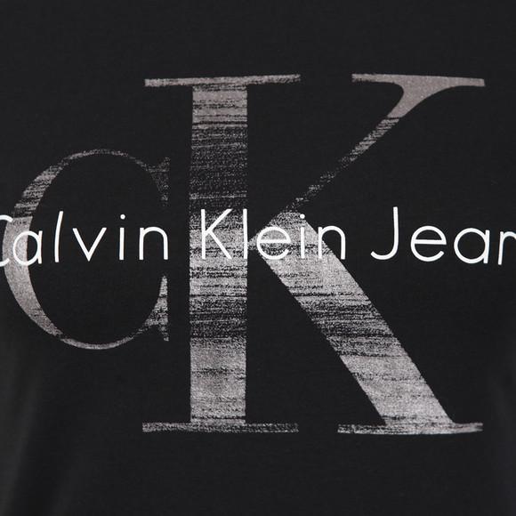 Calvin Klein Womens Black Shimmer Logo T Shirt main image